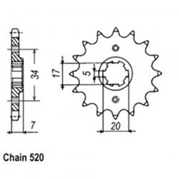SPROCKET 15T XR250RL-RRS/S TO 31-KR0