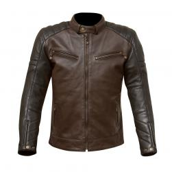 "MERLIN JACKET CHASE LEATHER BLACK/PLUM 40"" MD"